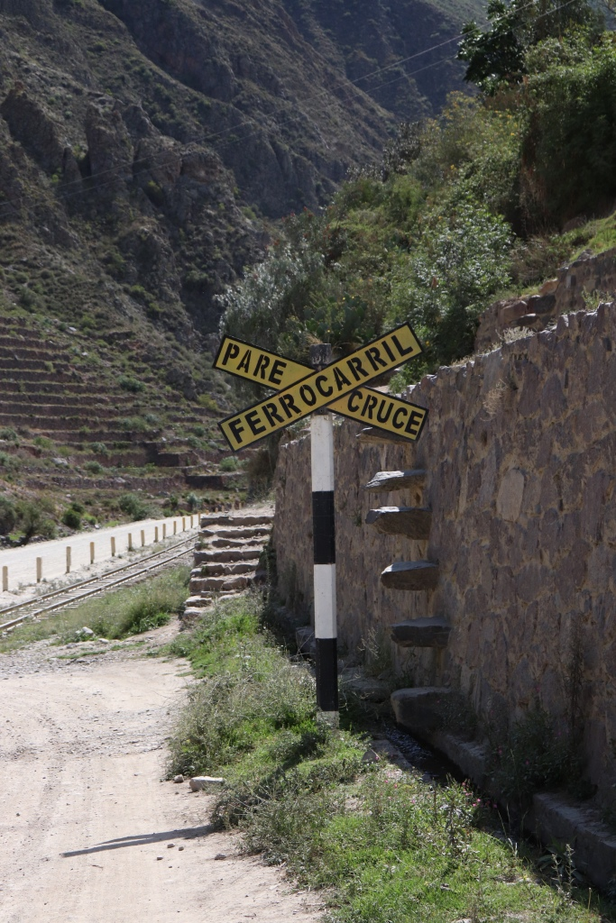 Rail sign near the Urubamba river