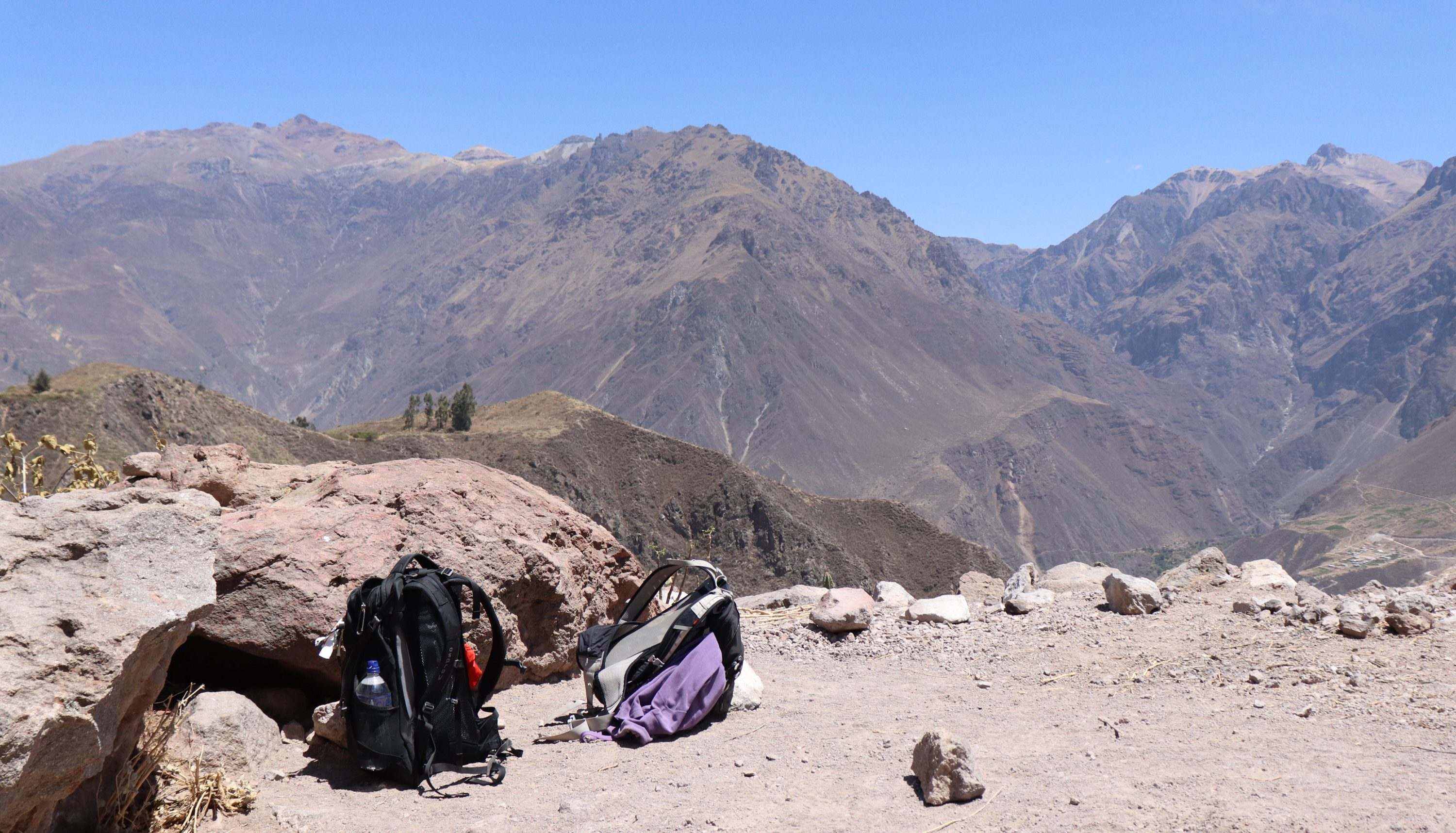 Our bags at the top of Colca Canyon