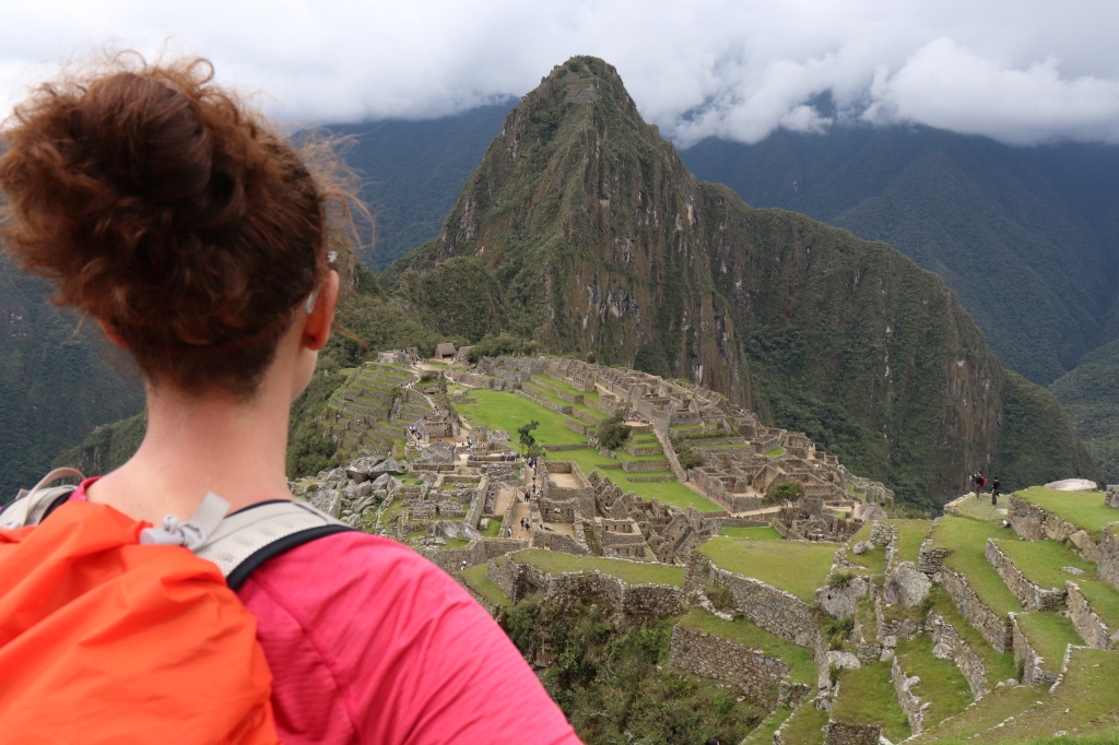 Daisy looking at Machu Picchu